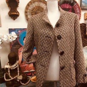 Tahari wool blend coat jacket tweed herringbone 12